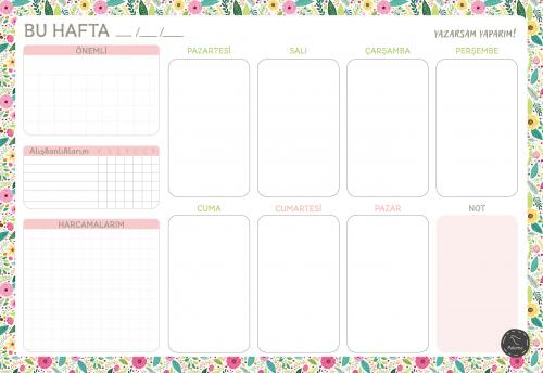 Süresiz Haftalık Planlayıcı – Çiçek Desenli